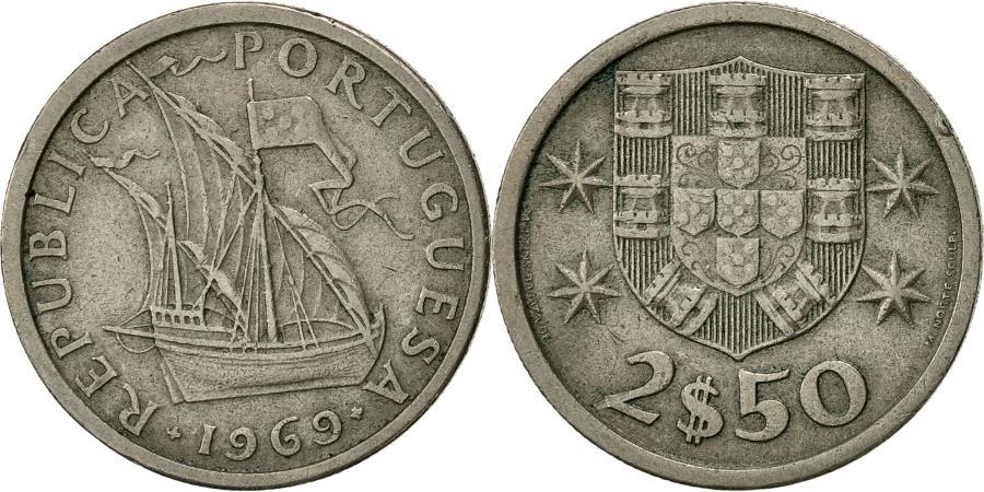 World Coins - Portugal, 2-1/2 Escudos, 1969, , Copper-nickel, KM:590