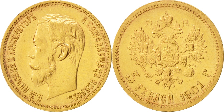 World Coins - Russia, Nicholas II, 5 Roubles, 1901, St. Petersburg, , Gold, KM:62