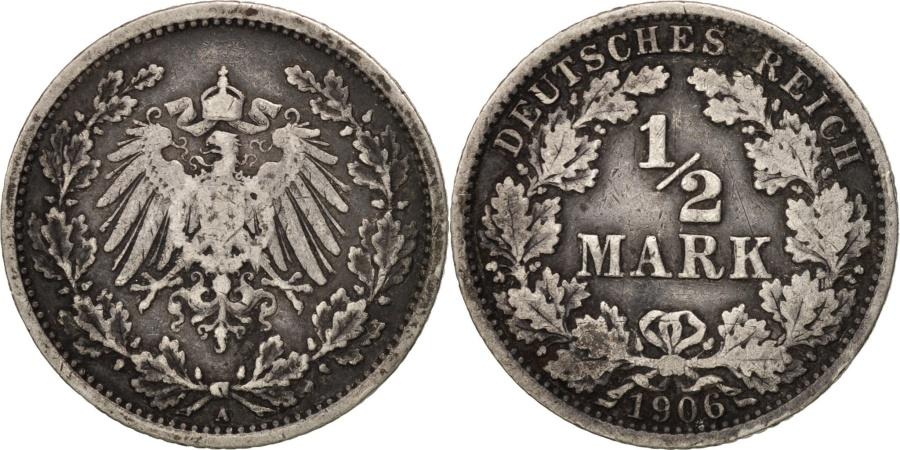World Coins - GERMANY - EMPIRE, 1/2 Mark, 1906, Berlin, , Silver, KM:17