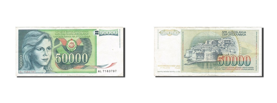 World Coins - Yugoslavia, 50,000 Dinara, 1985-1989, KM:96, 1988-05-01, EF(40-45)
