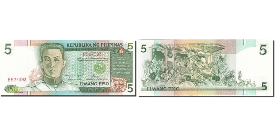World Coins - Philippines, 5 Piso, 1986-1991, 1991, KM:179, UNC(63)
