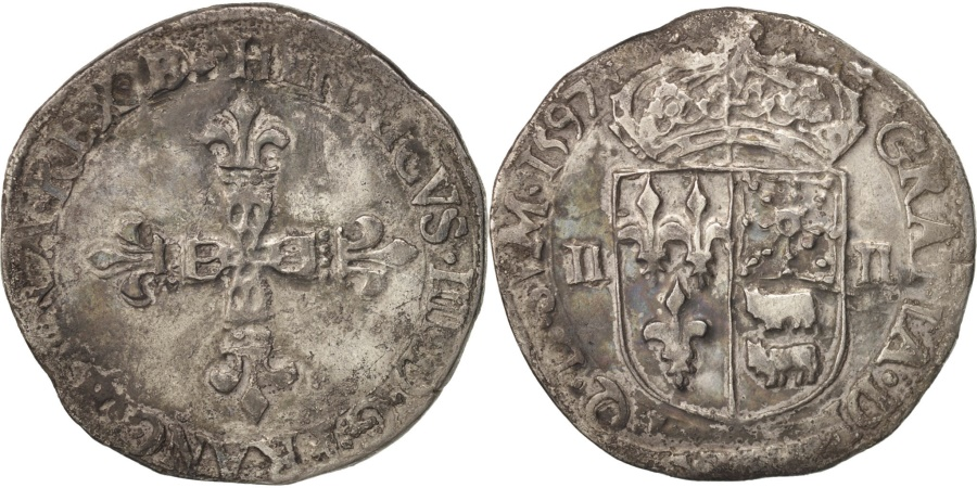 World Coins - France, Henri IV, 1/4 Ecu de Béarn, 1597, Pau, , Silver, Sombart:4706