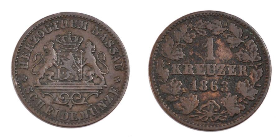 World Coins - GERMAN STATES, Kreuzer, 1863, Wiesbaden, KM #74, , Copper, 4.40