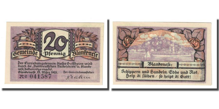 World Coins - Banknote, Germany, Blankenese Gemeindesparkasse, 20 Pfennig, paysage 2, 1921