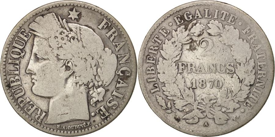 World Coins - FRANCE, Cérès, 2 Francs, 1870, Paris, KM #817.1, , Silver, 27, Gadoury #