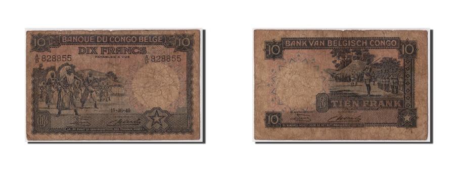 World Coins - Belgian Congo, 10 Francs, 1949, KM #14E, 1949-08-15, F(12-15), A/D 828855