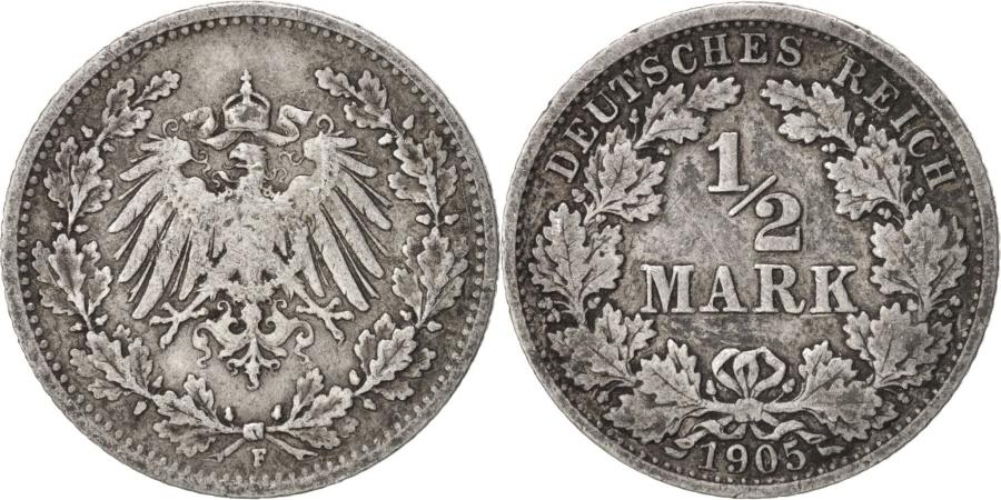 World Coins - GERMANY - EMPIRE, 1/2 Mark, 1905, Stuttgart, , Silver, KM:17