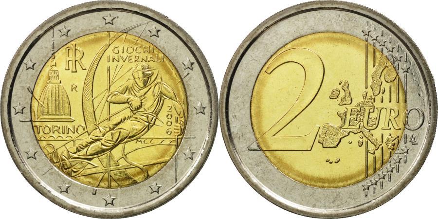 Italy 2 euro torino 2006 ms 63 bi metallic km 246 for Coin torino
