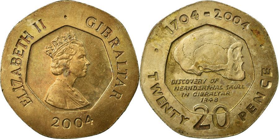 World Coins - Coin, Gibraltar, Elizabeth II, 20 Pence, 2004, , Copper-nickel, KM:1048