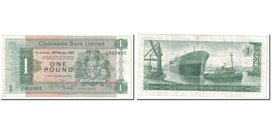 World Coins - Banknote, Scotland, 1 Pound, 1967, 1967-04-03, KM:202, EF(40-45)