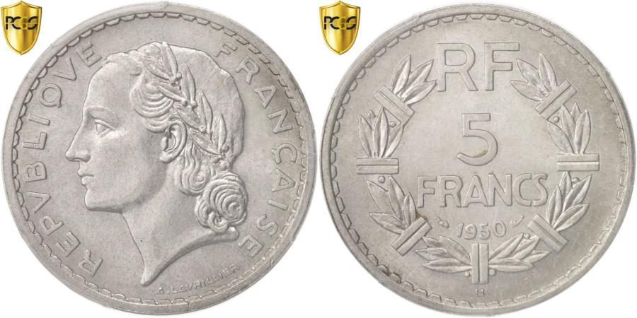 World Coins - Coin, France, Lavrillier, 5 Francs, 1950, Beaumont le Roger, PCGS, MS62