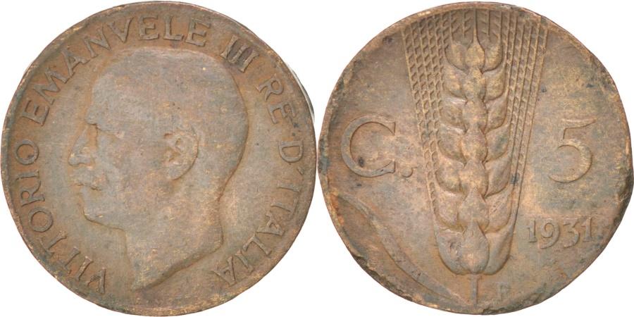 World Coins - ITALY, 5 Centesimi, 1931, Rome, KM #59, , Bronze, 19.8, 3.36