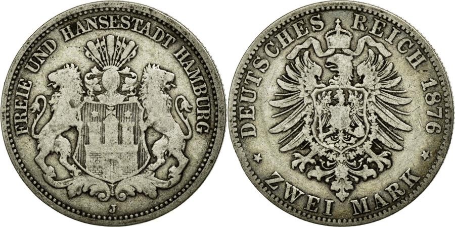 World Coins - Coin, German States, HAMBURG, 2 Mark, 1876, Hambourg, VF(30-35), Silver, KM:604