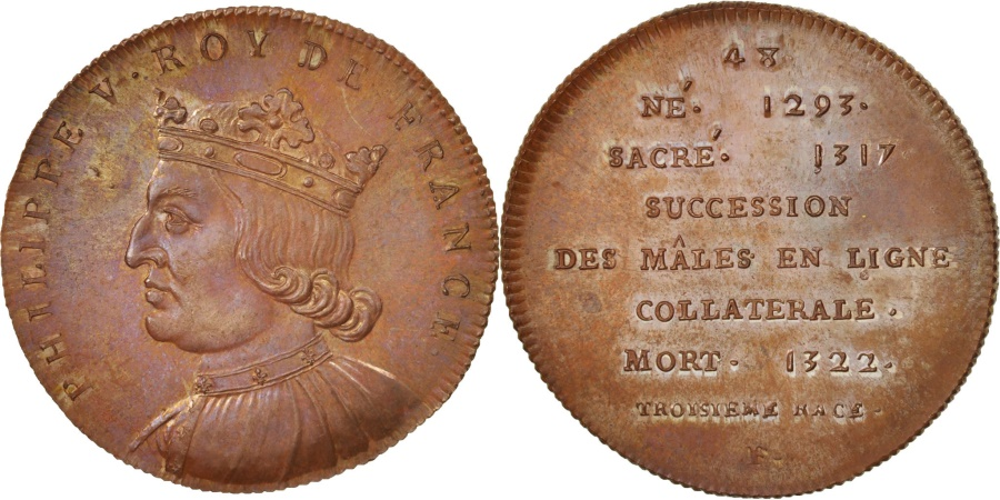 World Coins - France, Medal, Philippe V le Long, History, XIXth Century, , Copper, 33