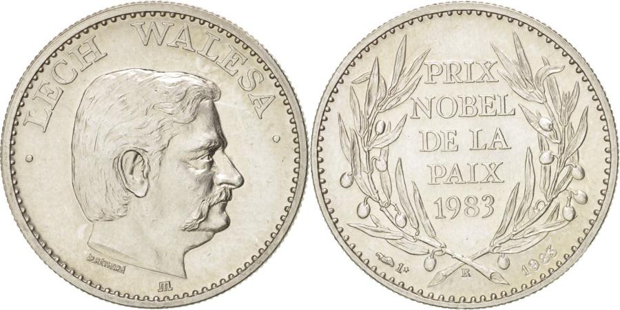 World Coins - France, Lech Walesa, Prix Nobel de la Paix de 1983, History, Medal, 1983