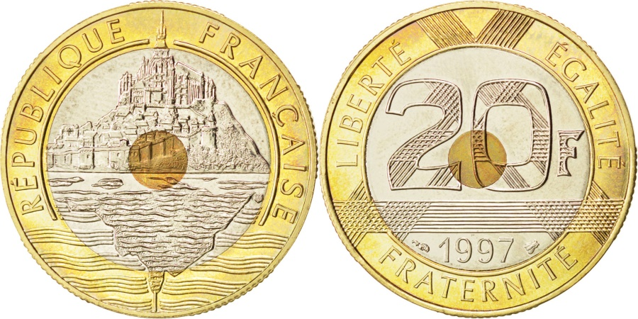 World Coins - FRANCE, Mont Saint Michel, 20 Francs, 1997, KM #1008.2, , Tri-Metallic,...