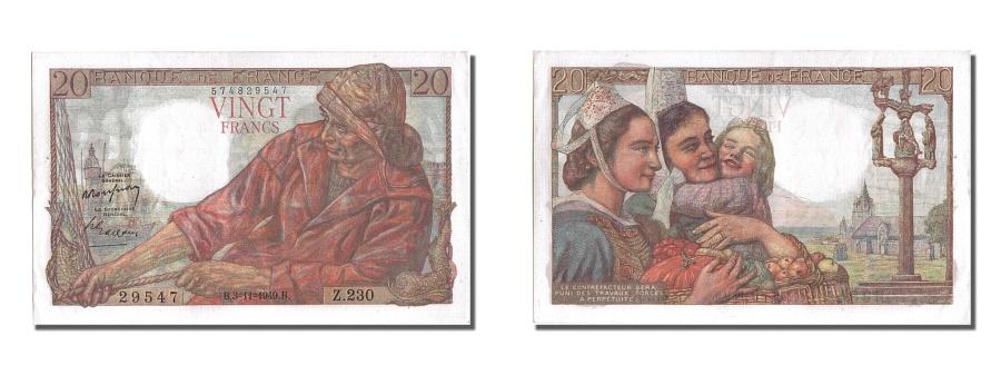 World Coins - France, 20 Francs, 20 F 1942-1950 ''Pêcheur'', 1949, KM #100c, 1949-11-03, U...