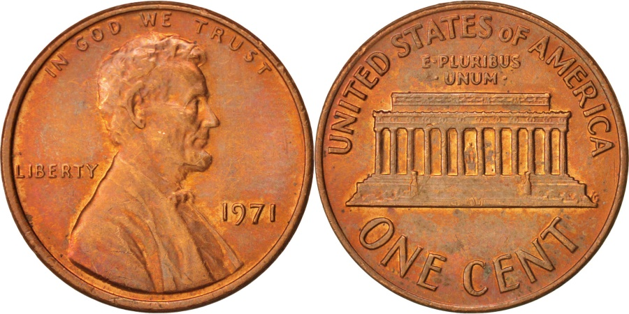 US Coins - United States, Lincoln Cent, Cent, 1971, U.S. Mint, Philadelphia,