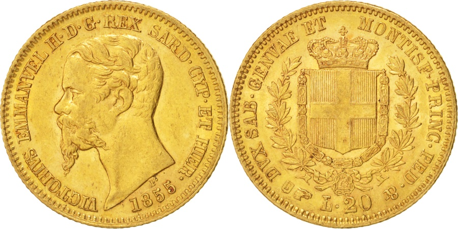 Italian states sardinia 20 lire 1855 torino var h for Coin torino