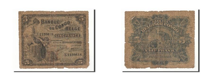 World Coins - Belgian Congo, 5 Francs, 1921, KM:4, 1921-04-02, VG(8-10)