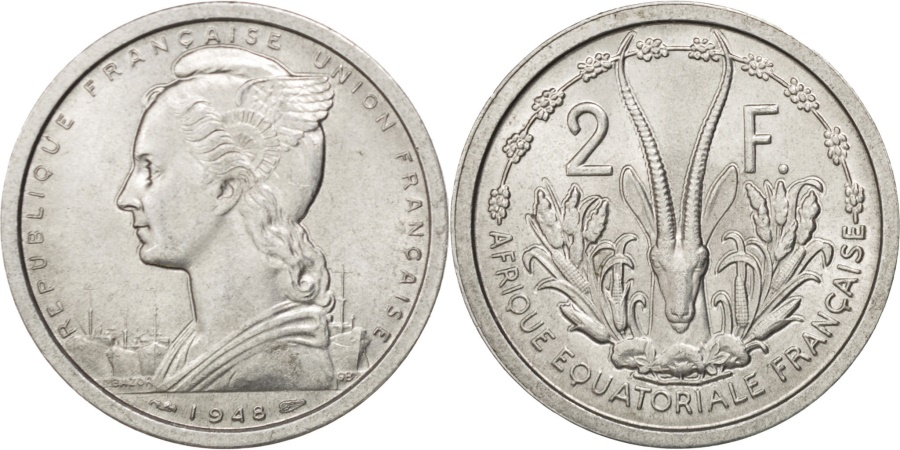 World Coins - FRENCH EQUATORIAL AFRICA, 2 Francs, 1948, Paris, KM #7, , Aluminum,...