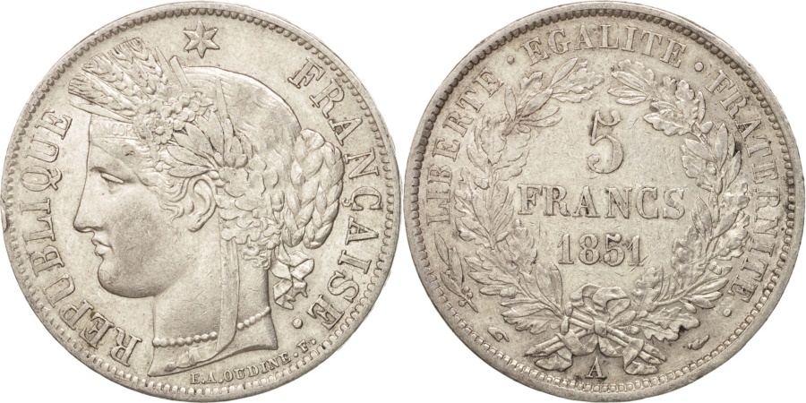 World Coins - France, Cérès, 5 Francs, 1851, Paris, , Silver, KM:761.1, Gadoury:683