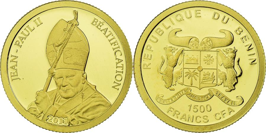 World Coins - Coin, Benin, Jean-Paul II, 1500 Francs CFA, 2011, , Gold