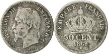 World Coins - France, Napoleon III, 50 Centimes, 1869, Strasbourg, VF(20-25), Silver, KM:814.2