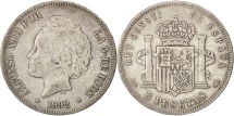 Spain, Alfonso XIII, 5 Pesetas, 1892, Madrid, VF(30-35), Silver, KM:700