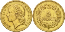 France, Lavrillier, 5 Francs,1946, Castelsarrasin,EF(40-45),Alu-Bronze,KM 888a.3