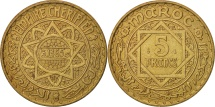 Morocco, Mohammed V, 5 Francs, 1946, Paris, AU(50-53), Aluminum-Bronze, KM:43