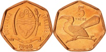 Botswana, 5 Thebe, 1998, British Royal Mint, MS(65-70), Copper Plated Steel