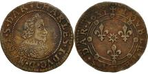 World Coins - France, Ardennes, Charles I, Double Tournois, 1635, Charleville, AU(50-53)