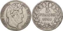 France, Louis-Philippe, 5 Francs, 1834,Nantes, VF(20-25), Silver, KM:749.12