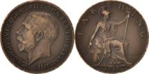 Great Britain, George V, Farthing, 1917, EF(40-45), Bronze, KM:808.1