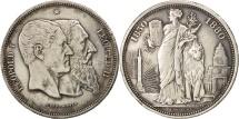 World Coins - Belgium, 5 Francs, 1880, EF(40-45), Silver, KM:8