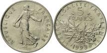 World Coins - France, Semeuse, 5 Francs, 1993, Paris, MS(63), Nickel Clad Copper-Nickel