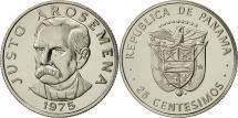 World Coins - Panama, 25 Centesimos, 1975, Franklin Mint, MS(64), Copper-Nickel Clad Copper