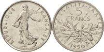 France, Semeuse, 5 Francs, 1990, Paris, AU(50-53),Copper-Nickel,KM 926a.1