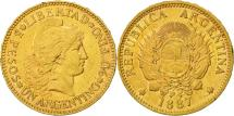 World Coins - Coin, Argentina, Argentino, 1887, AU(50-53), Gold, KM:31