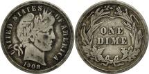 Us Coins - United States, Barber Dime, Dime, 1908, U.S. Mint, Philadelphia,VF(30-35),KM 113