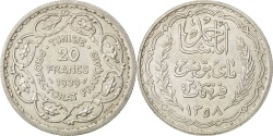 World Coins - TUNISIA, 20 Francs, 1939, Paris, KM #E23, , Silver, Lecompte #370,...
