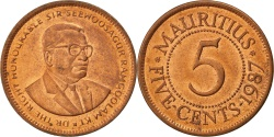 World Coins - MAURITIUS, 5 Cents, 1987, KM #52, , Copper Plated Steel, 2.98
