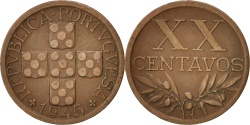 World Coins - Portugal, 20 Centavos, 1945, , Bronze, KM:584