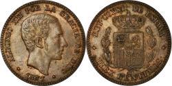 World Coins - Coin, Spain, Alfonso XII, 10 Centimos, 1877, Barcelona, , Bronze