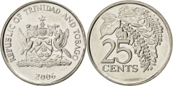 World Coins - TRINIDAD & TOBAGO, 25 Cents, 2006, KM #32, , Copper-Nickel, 20, 3.51
