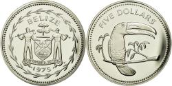 World Coins - Coin, Belize, 5 Dollars, 1975, Franklin Mint, MS(65-70),  Silver, KM:44a