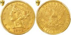 Us Coins - Coin, United States, Coronet Head, $5, Half Eagle, 1892, CC, PCGS MS61