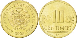 World Coins - PERU, 10 Centimos, 2008, Lima, KM #305.4, , Brass, 20.5, 3.51