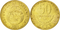 World Coins - COSTA RICA, 50 Colones, 2007, KM #231.1b, , Brass Plated Steel, 27.5, 7.90